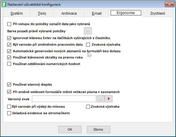 Část parametrů uživatelské konfigurace